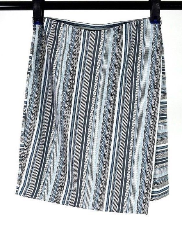 Primary image for J Jill Blue Striped Soft Jersey Pencil Wrap Skirt Below Knee Size Straight Small