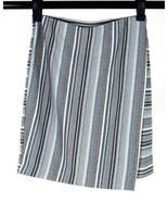 J Jill Blue Striped Soft Jersey Pencil Wrap Skirt Below Knee Size Straig... - $14.84