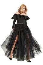Black Pink White Slit Tulle Skirt High Waisted Full Length Slit Tulle Maxi Skirt image 3