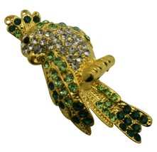 Gorgeous Attractive Bird Brooch Peridot Crystals Sparkle Shine Brooch - $15.98