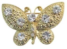 Breathtaking Brooch Pin Sleek Elegant Clear Crystals Golden Butterfly - $8.18