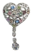 Heart Shaped Brooch Multicolor Crystals Dangling Celebrity Brooch Pin - $8.18