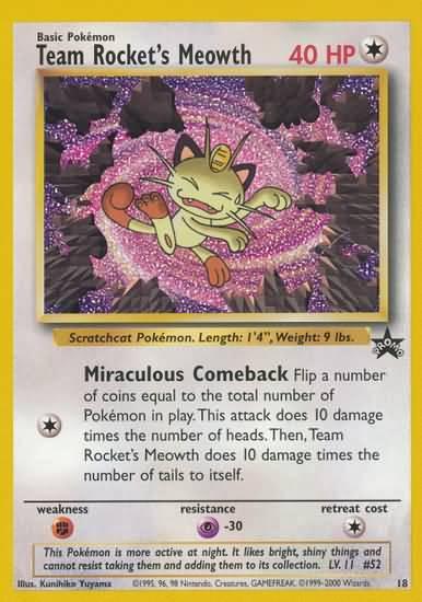 Pokemon Promo Cards Team Rocket Meowth Black Star Promo 18