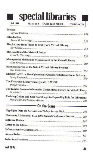 1994 FALL-SPECIAL LIBRARIES--ONLINE SEARCHING-vol.85 #4 Bonanza