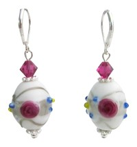 Inexpensive White Lampwork w/ Fuchsia Crystals Sterling Silver Earring - $13.38