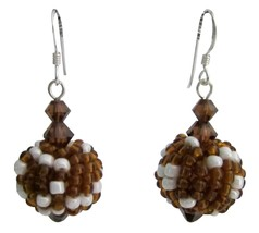 Handmade Bead Earring Best Gift Brown Combo - $10.78