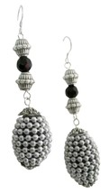 Kashmiri Oval Handmade Beaded Christmas Party Silver Jewelry Earrings - $12.08