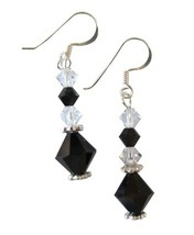 Incredible Price Jet Clear Crystals Earrings Gift Affordable Jewelry - $10.78