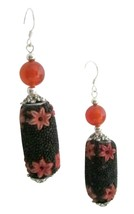 Black Orange Fall Jewelry Handmade Bead Absolutely Affordable Earrings - $10.13
