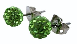 Peridot Crystals Pave Ball Stud Earrings - $11.43