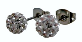 Wedding Clear Pave Ball Stud Earrings - $11.43