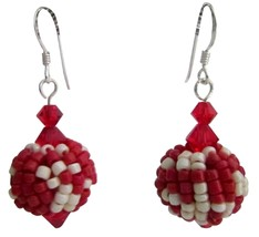 Red White Combo Earrings Exotic Style Valentine Gift - $10.78