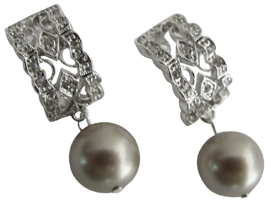 Wedding Pearl Drop Earrings in Platinum Champagne