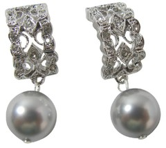 Rhinestone Swarovski Grey Pearl Drop Dangle Ear... - $18.58