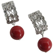 Good Collection Of Gift Red Pearl Drop Earrings - $18.58