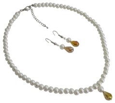 Faux White Pearls with Smoked Topaz Teardrop Bridesmaid Jewelry - $12.73