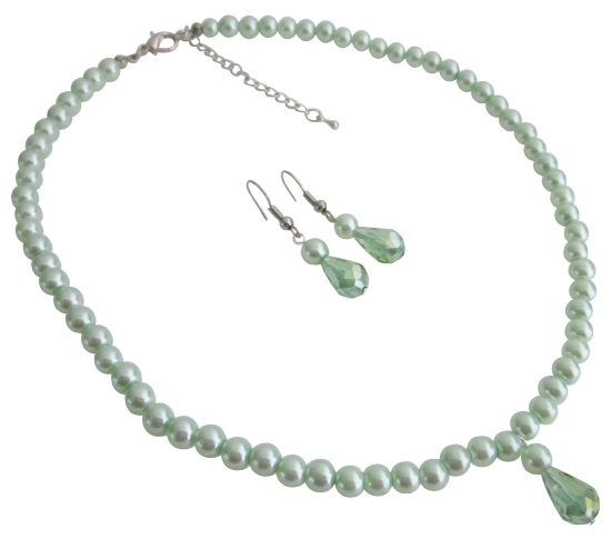 Beautiful Wedding Jewelry Flower Girls Lite Green Pearls