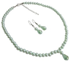 Beautiful Wedding Jewelry Flower Girls Lite Green Pearls - $12.73
