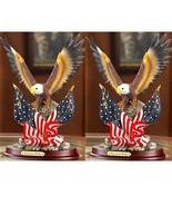 2 Patriotic Eagle Statue American Pride Bald Eagle Sculpture - $54.45