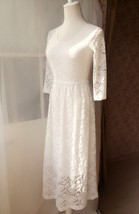 Ivory White Lace Boho Dress long Sleeve Lace Dress Easy Fitted Wedding Dress NWT image 5