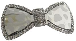 Shiny Glass Hair Bow Barrette W/ Sparkling Rhin... - $10.13