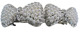 Double Bow Barrette Cream Pearls Rhinestone Pro... - $11.43