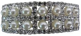 Bridal Barrette Silver Pearls & Rhinestone Love... - $11.43
