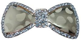 Gold Glass Hair Bow Barrette W/ Sparkling Rhine... - $10.13