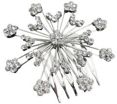 Silver Sparkling Wedding Hair Barrette Cubic Zi... - $16.63