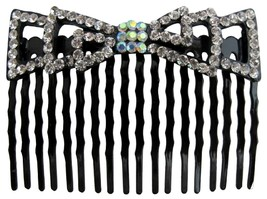 Vintage Prom Hair Accessory Bow Shaped Comb Barrette In Clear Crystals - $9.48