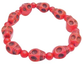 Fashion Coral 10MM Skull Bead Stretchable Bracelet - $10.78