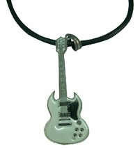 HipHop White Guitar Pendant Necklace For School Music Function - $9.48