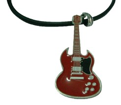 HipHop Red Guitar Pendant Necklace For School Music Function - $9.48
