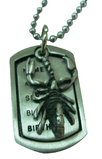 Scorpion Mens Dog Tag Pendant Necklace
