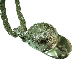 HipHop Baseball Cap w/ Rhinestones Pendant Necklace - $15.98