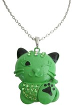 Cute Cat Pendant Necklace Green Cat Pendant - $15.33