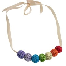 Rainbow Crochet Baby Shower Gift Necklace Jewelry - $12.73