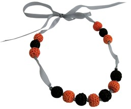 Baby Child Necklace Black Orange Crochet Jewelry Accessory - €14,49 EUR