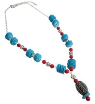 Turquoise Coral Rings Artisan Necklace Would Be Gorgeous Gift - $21.18