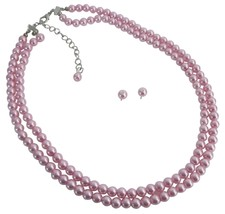 Reasonable Budget Priced Gifts Party Wedding Pink Pearls Necklace Set - $17.28