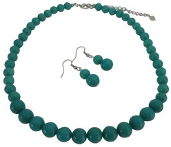 Affordable Designer Green Turquoise Round Beads Necklace Sets - $21.83