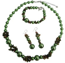 Wedding Beautifull Olive Pearls Olive Nugget Necklace Set - $21.18
