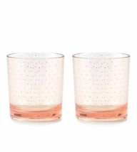 Kate Spade York Patio Floral Blush Acrylic Glasses Set 2 Pink Gold Polka Dot - $9.98