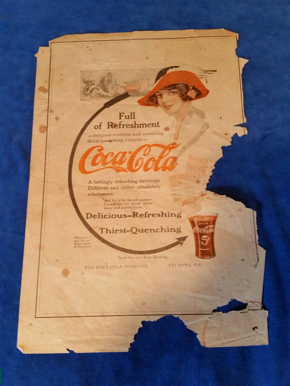 "Primary image for 1913 Original Coca Cola Vintage ad Full Of Refreshment 10 1/2""x15 1/2"""