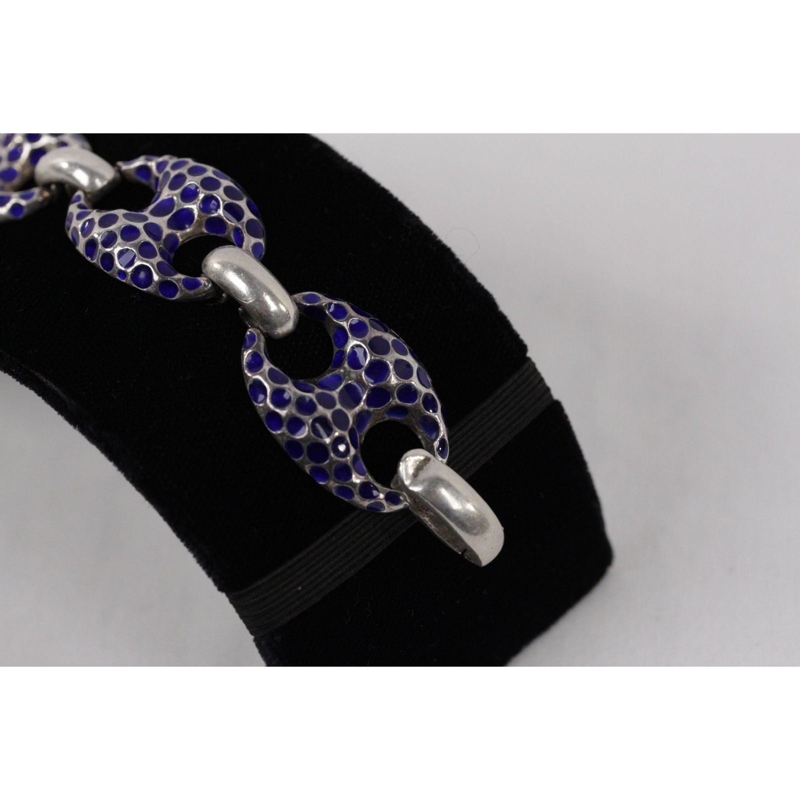 Authentic VINTAGE Tested Sterling Silver Anchor Link Chain Bracelet Blue Enamel