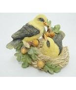 "Vintage Birds Figurine Goldfinch in Nest Oak Leaves Acorns 3.25"" x 4.5"" ... - $15.83"