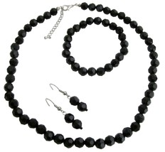 Multi-Faceted Bead Necklace Bracelet & Earrings Set - $10.13