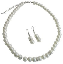 Bridal Jewelry Matron of Honor Ivory Pearls w/ Diamond Like Spacer - $12.08