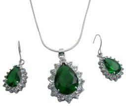 Celebrity Inspired Pear Shape Silver Plated Sparkling Jewelry Set - $13.38