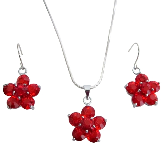 Bridesmaid Jewelry Sunset Red Crystals Flower Necklace Set